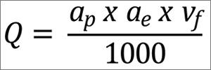 Fórmula para taxa de remoção de material em fresamento