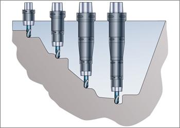 A mesma ferramenta com diferentes comprimentos de alcance graças à montagem modular de ferramenta